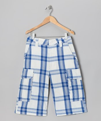 Blue Plaid Prescott Cargo Shorts