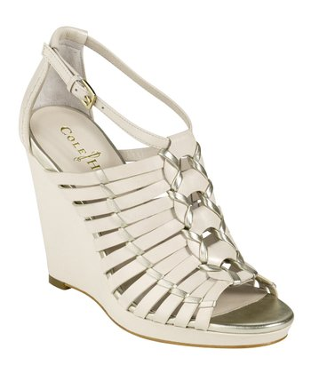 White Pine & White Gold Air Minka Wedge Sandal