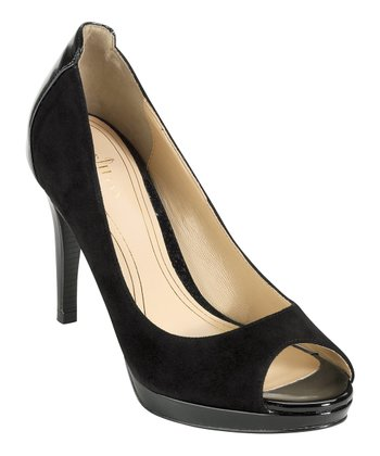 Black Suede Chelsea Open-Toe Pump