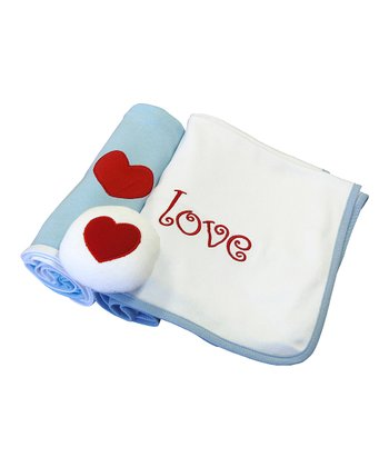 Blue 'Love' Blanket Set