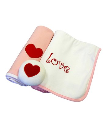 Pink 'Love' Blanket Set