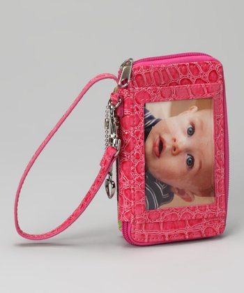 Pink Crocodile Smart Phone Wristlet