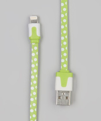 Green Polka Dot Lightning Cable