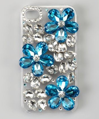 Blue & Silver Bling Flower Case for iPhone 4