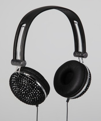 Black Bling Rhinestone Headphones