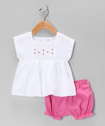 White & Magenta Smocked Top & Bloomers - Infant