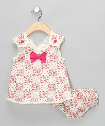 White & Pink Floral Patchwork Bow Dress & Diaper Cover - Infant