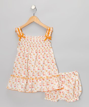 Orange Floral Smocked Ruffle Dress - Infant & Toddler