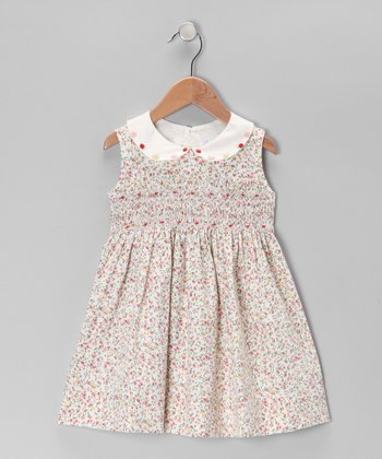 Cream Floral Smocked Peter Pan Dress - Infant