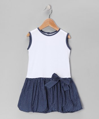 White & Navy Drop-Waist Dress - Infant & Toddler