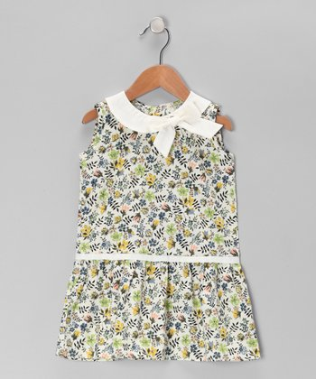 Green & Yellow Floral Drop-Waist Dress - Toddler & Girls