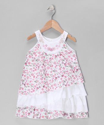 Green & Pink Floral Yoke Dress - Infant, Toddler & Girls