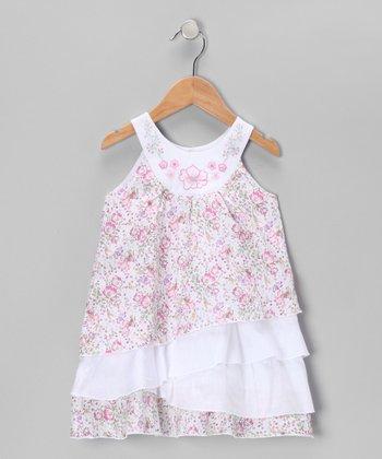 Aqua & Pink Floral Yoke Dress - Infant, Toddler & Girls