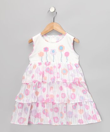 White & Pink Flower Tiered Dress - Infant & Toddler