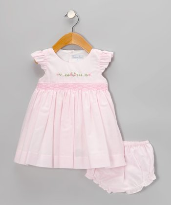 Pink Smocked Angel-Sleeve Dress & Diaper Cover - Infant