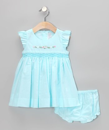 Blue Smocked Angel-Sleeve Dress & Diaper Cover - Infant