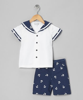 White & Navy Button-Up Sailor Top & Shorts - Infant & Toddler