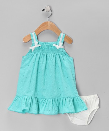 Aqua Eyelet Dress & Diaper Cover - Infant