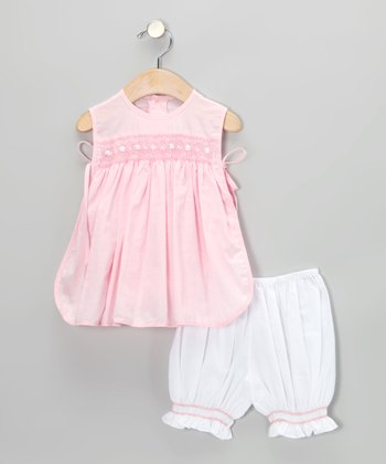 Pink Smocked Pinafore Tunic & Bloomers - Infant