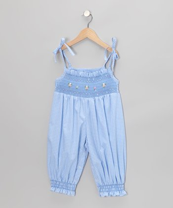 Blue Gingham Smocked Playsuit - Infant