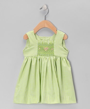 Green Gingham Smocked  Dress - Infant & Toddler