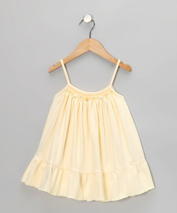 Yellow Floral Smocked Swing Dress - Toddler & Girls