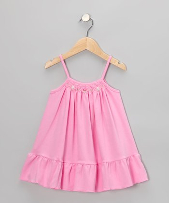 Pink Floral Smocked Swing Dress - Toddler & Girls