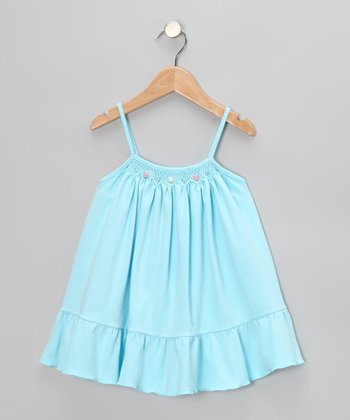Blue Floral Smocked Swing Dress - Infant, Toddler & Girls