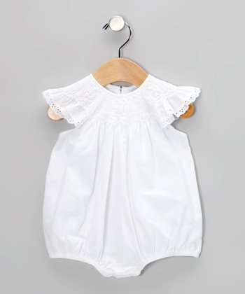 White Smocked Lace Angel-Sleeve Bubble Bodysuit - Infant