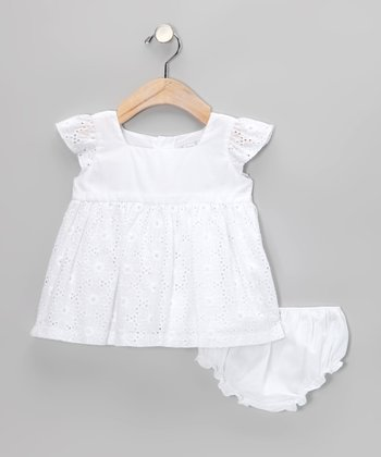 White Eyelet Angel-Sleeve Dress & Diaper Cover - Infant