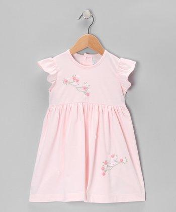 Pink Bird & Flowers Angel-Sleeve Dress - Infant & Toddler