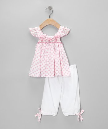 Smocked Pink Polka Dot Swing Top & Pants - Infant
