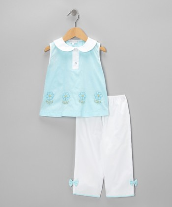 Aqua Daisy Top & Pants - Infant & Toddler