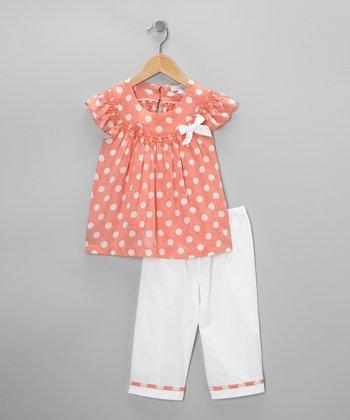 Peach Polka Dot Smocked Top & Pants - Infant & Toddler