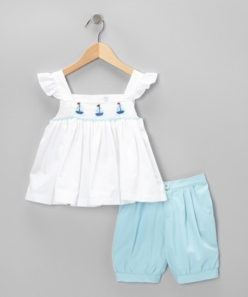 White Smocked Sailboat Top & Shorts - Infant, Toddler & Girls