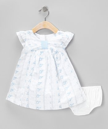 Blue Eyelet Angel-Sleeve Dress & Diaper Cover - Infant