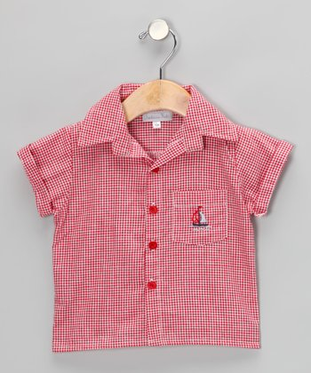 Red Gingham Sailboat Button-Up - Infant