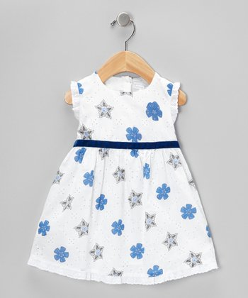 White & Navy Dress - Infant & Toddler