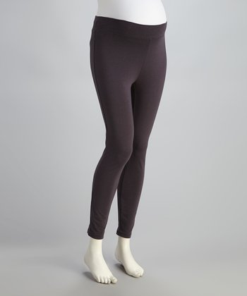 Charcoal Seamless Under-Belly Maternity Leggings - Women
