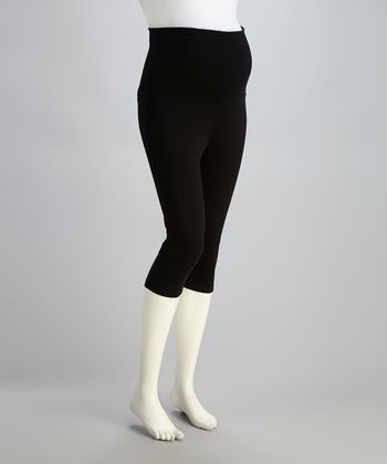 Black Seamless Over-Belly Maternity Leggings