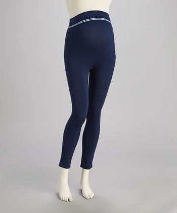 Navy Seamless Over-Belly Maternity Leggings - Women