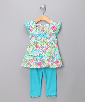 Aqua Floral Tunic & Leggings - Girls
