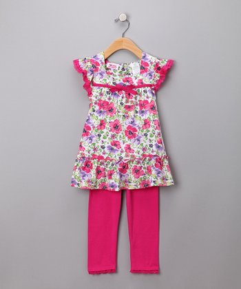 Pink Floral Tunic & Leggings - Girls