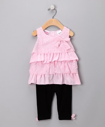 Pink Lace Ruffle Tunic & Leggings - Infant