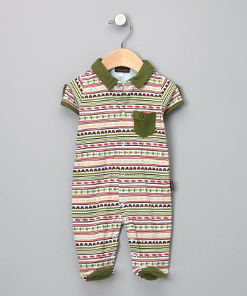 Olive Voyage Stripe Footie - Infant - Infant