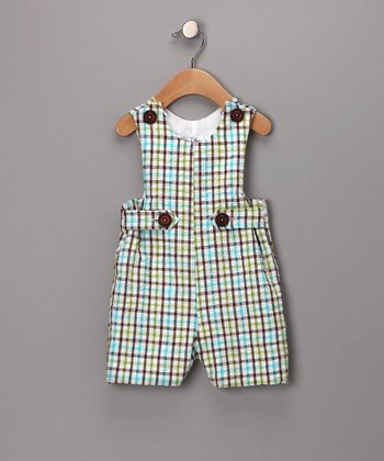 Aqua & Brown Plaid Seersucker Shortalls - Infant
