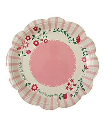 Pink Flower Plate - Set of 24