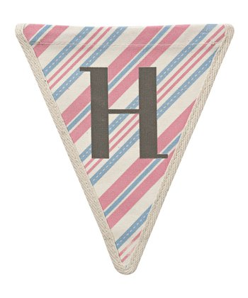 Pink & Blue Stripe 'H' Bunting Pennant - Set of Three
