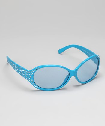 Blue Rhinestone Heart Sunglasses