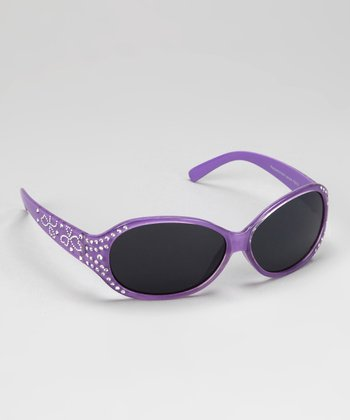 Purple Rhinestone Heart Sunglasses